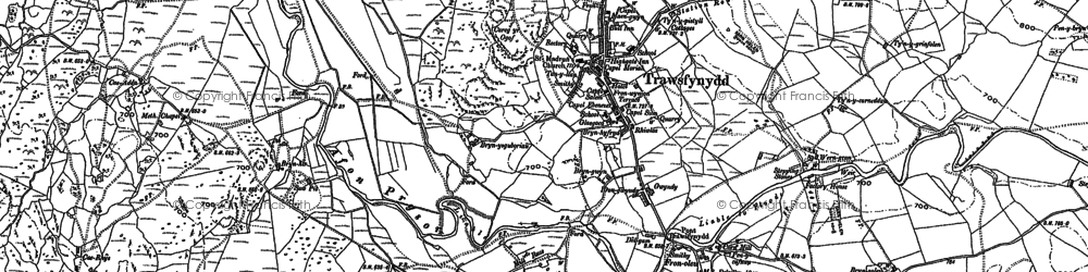 Old map of Afon Crawcwellt in 1887
