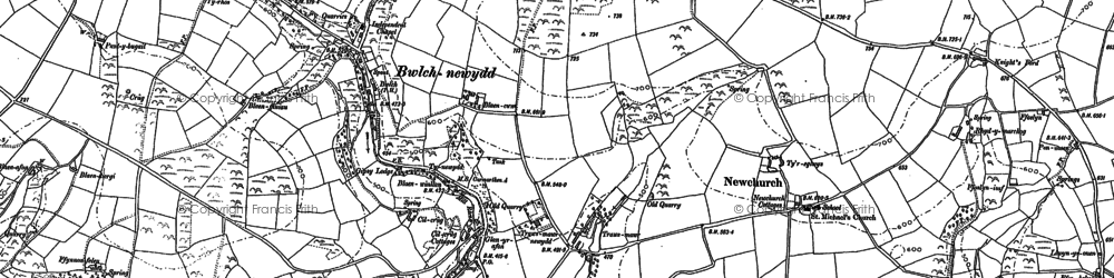Old map of Bwlch-newydd in 1887