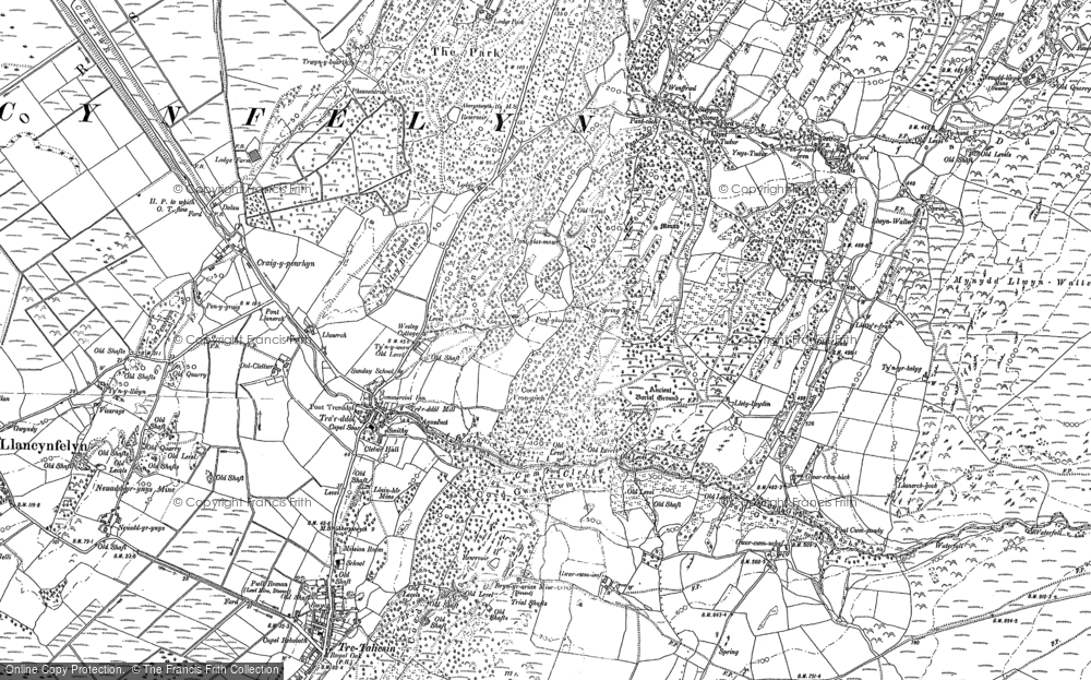 Old Map of Historic Map covering Afon Cetwr in 1900
