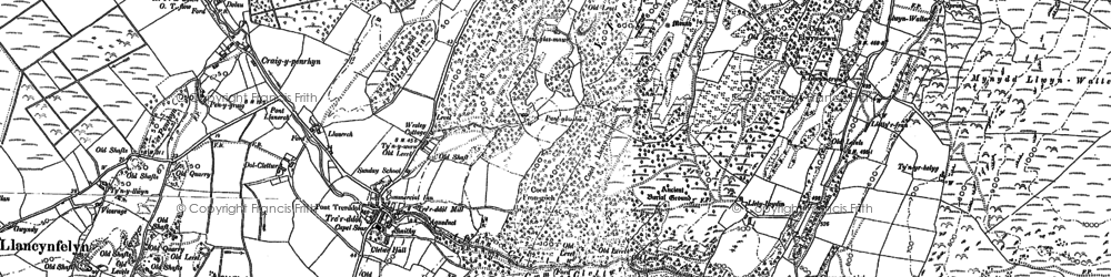 Old map of Afon Cetwr in 1900