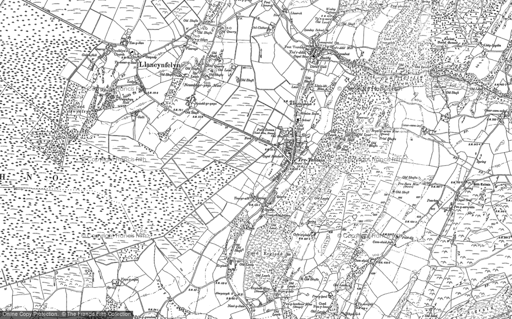 Old Map of Historic Map covering Llangynfelyn in 1900