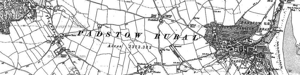 Old map of Treator in 1880