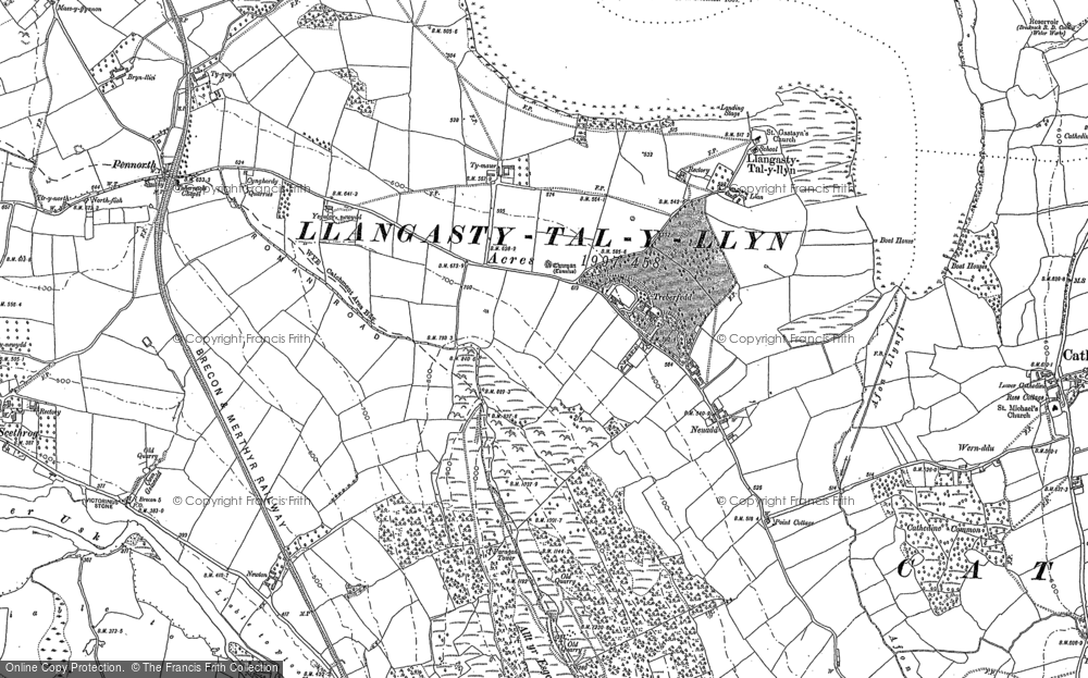 Old Map of Historic Map covering Allt y Esgair in 1886