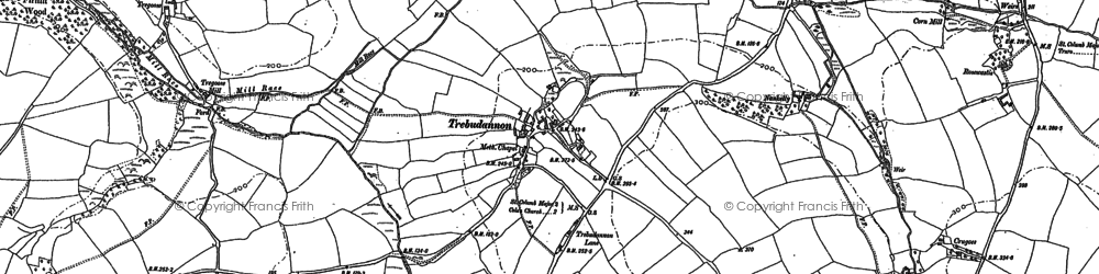 Old map of Trebudannon in 1880
