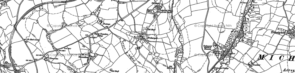 Old map of Treburgett in 1880