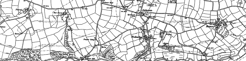 Old map of Treburley in 1905