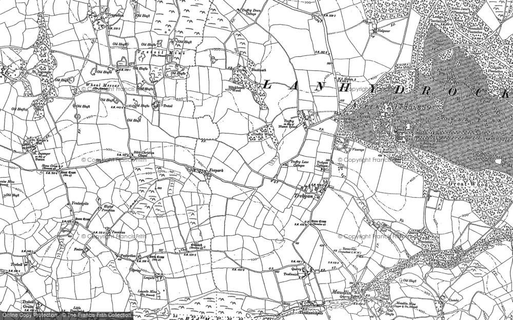 Old Map of Historic Map covering Lanhydrock House in 1881