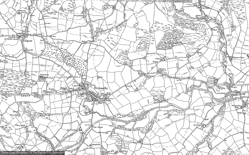 Old Map of Historic Map covering Abercrai in 1884