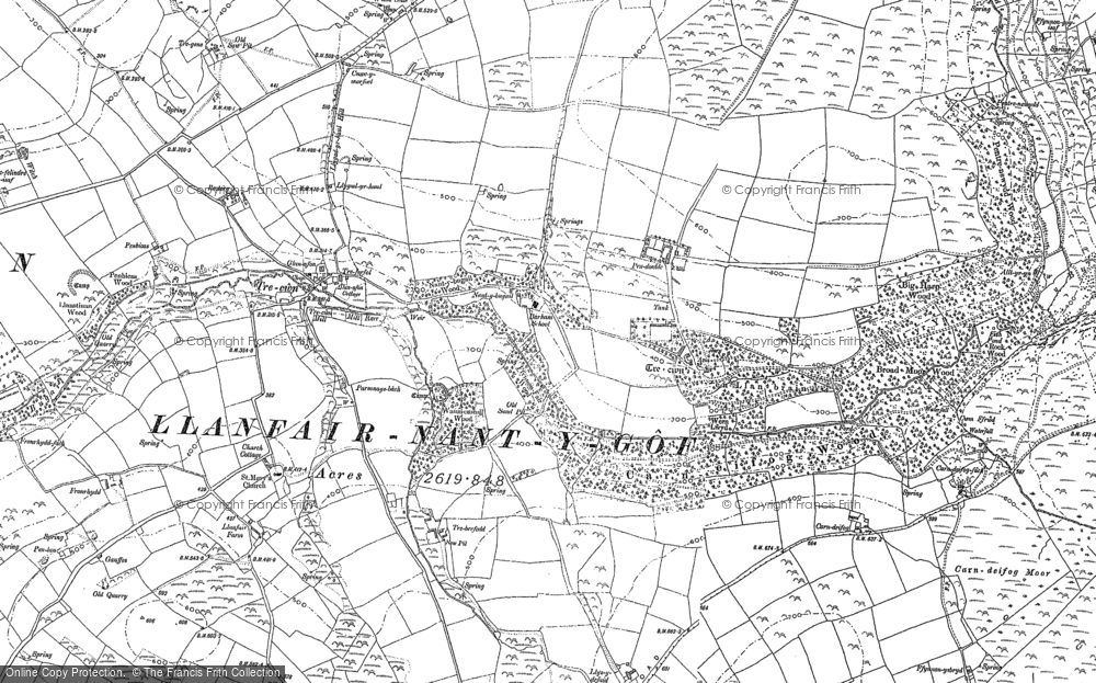 Old Map of Historic Map covering Allt yr Yn in 1887