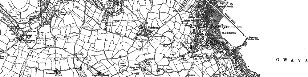 Old map of Tredavoe in 1906