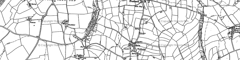 Old map of Tredinnick in 1880