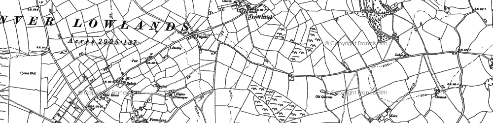 Old map of Tredrizzick in 1880