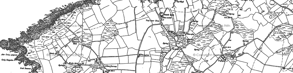 Old map of Ynys Melyn in 1887