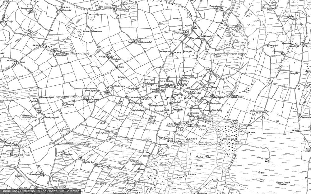Old Map of Historic Map covering Afon Tryal in 1886