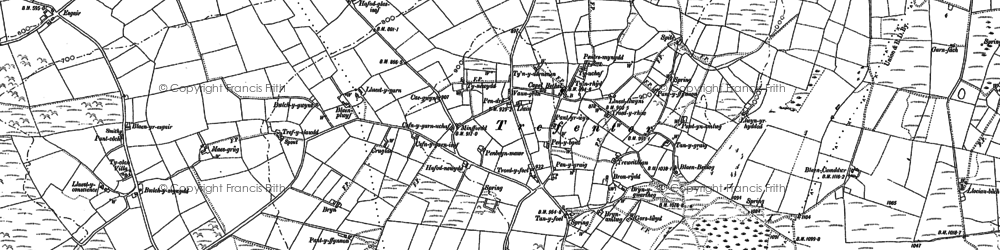 Old map of Afon Tryal in 1886