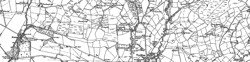 Old map of Afon Aeron in 1887