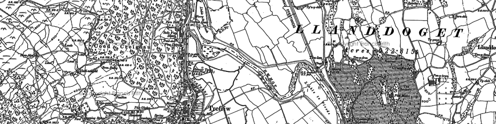 Old map of Trefriw in 1887