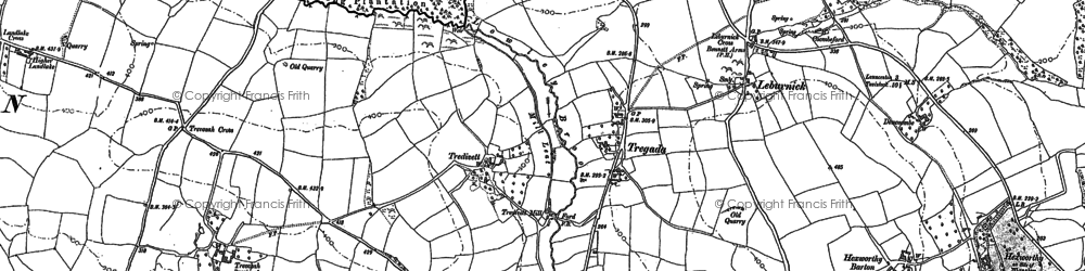 Old map of Tregada in 1882
