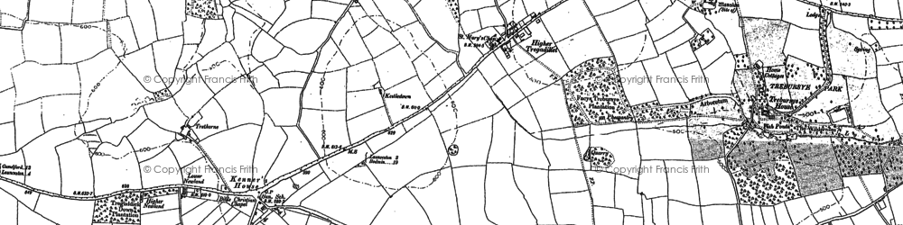Old map of Tregadillett in 1882