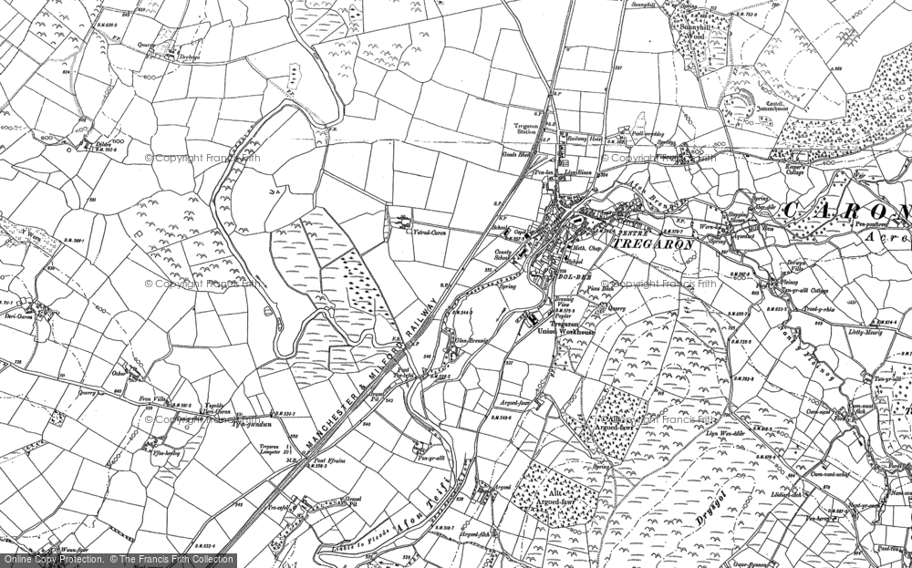 Old Map of Historic Map covering Aberdwr in 1887
