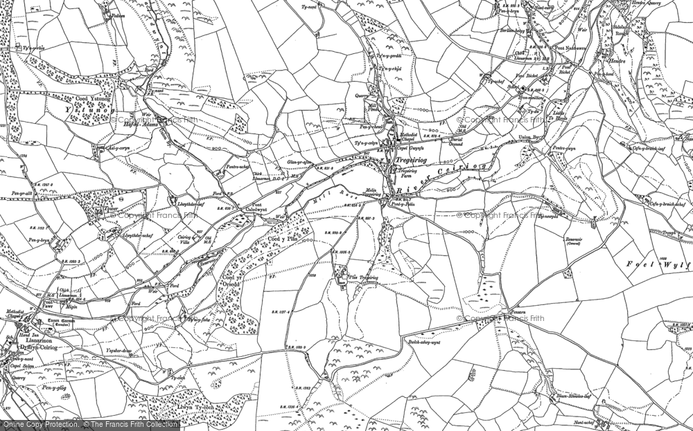 Old Map of Historic Map covering Tomen y Gwyddel in 1910