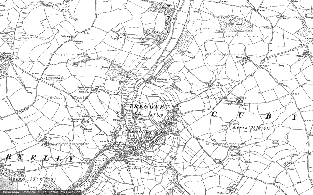 Old Map of Historic Map covering Tippetts Shop in 1879