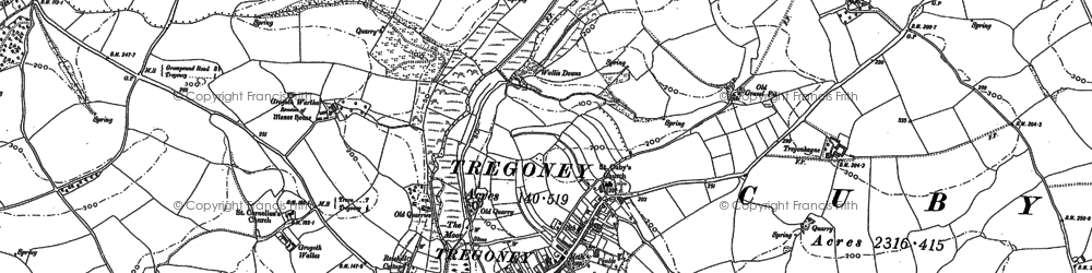Old map of Tregony in 1879