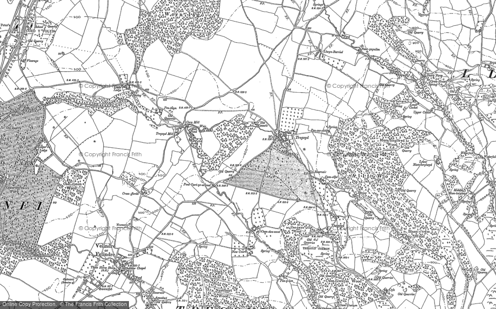 Old Map of Historic Map covering Allt Wood in 1887