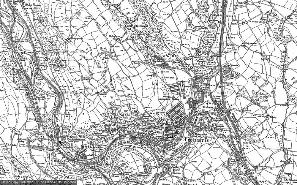 Old Map of Treharris, 1898 in 1898