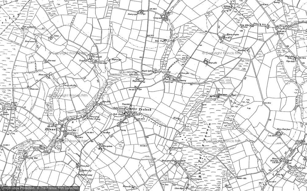 Old Map of Historic Map covering Afon Cynin in 1887