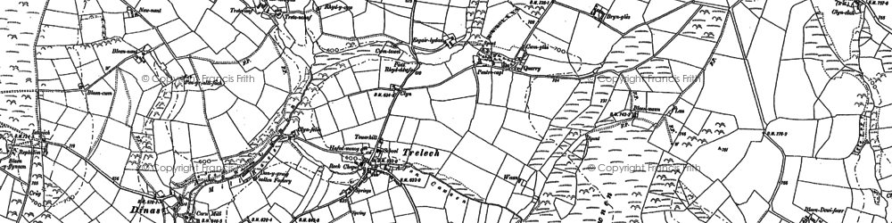 Old map of Afon Cynin in 1887