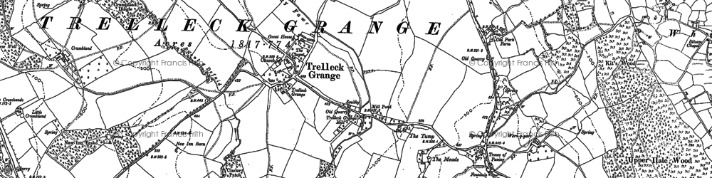 Old map of Trelleck Grange in 1900