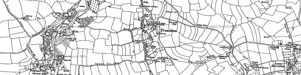 Old map of Whity Cross in 1888
