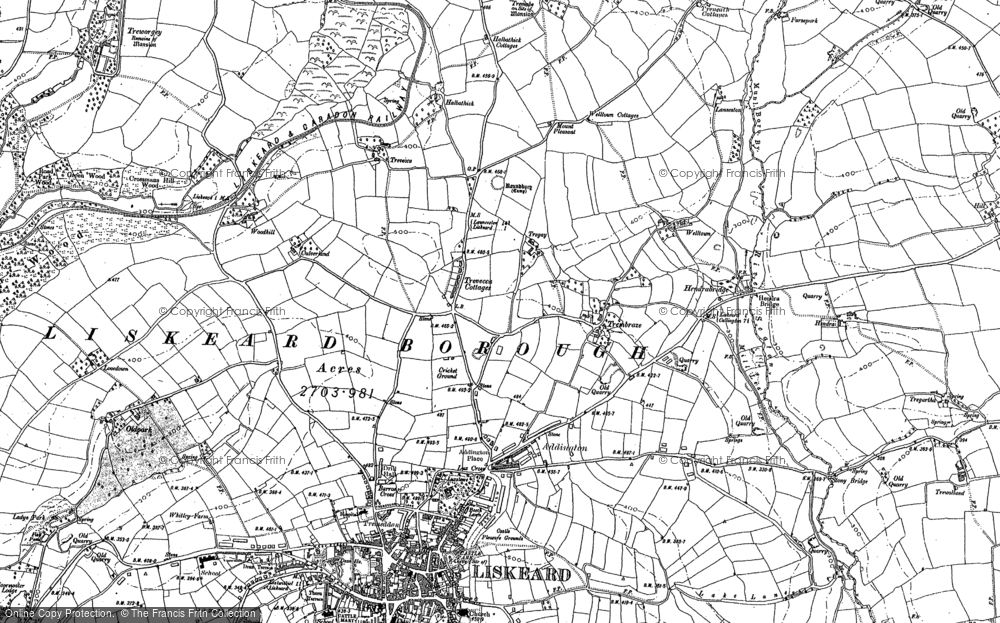 Old Map of Historic Map covering Woodhill Manor in 1882