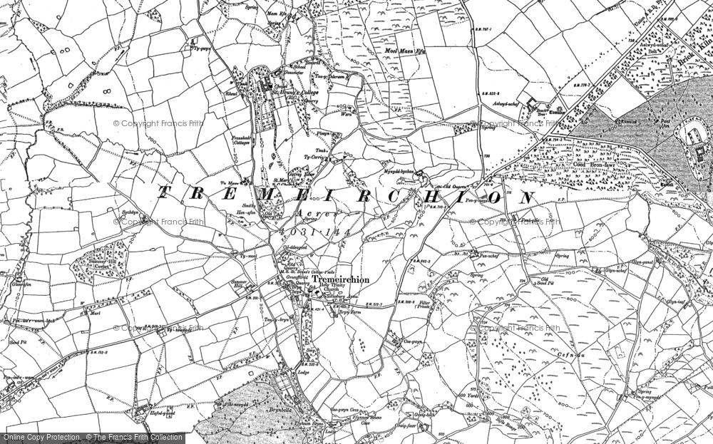 Old Map of Historic Map covering Aelwyd-uchaf in 1898