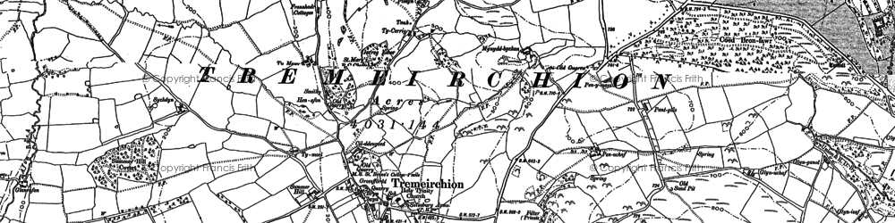 Old map of Tremeirchion in 1898