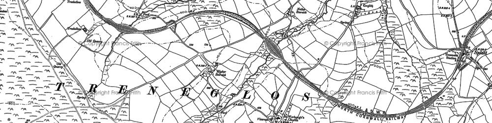 Old map of Wilsey Down in 1882