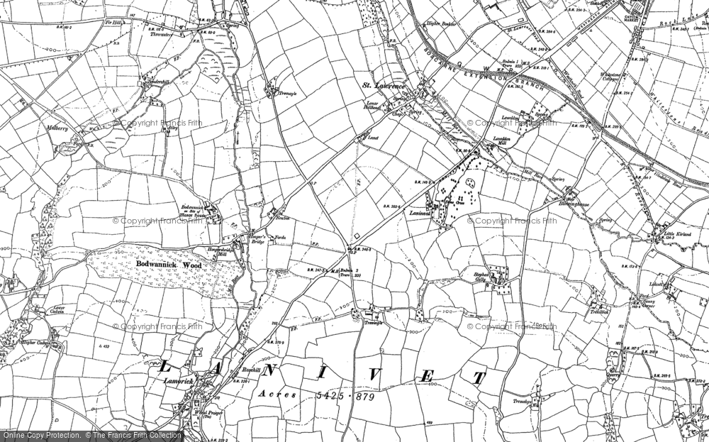 Old Map of Historic Map covering Laninval Ho in 1880