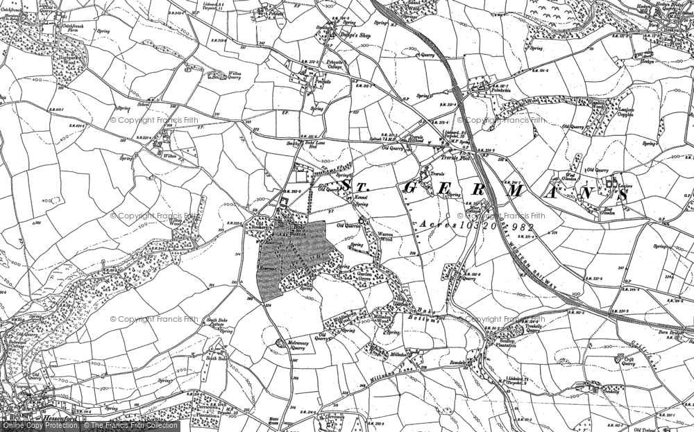 Old Map of Historic Map covering Bake Manor in 1882