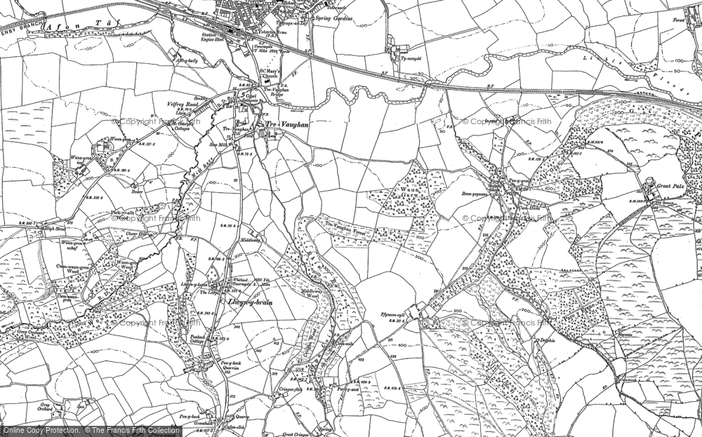 Old Map of Historic Map covering Afon Cwm-Waun-gron in 1905