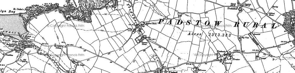 Old map of Trevone in 1880