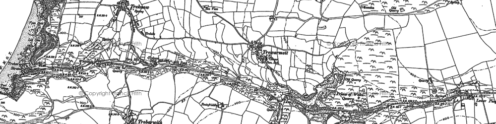 Old map of Penpethy in 1905
