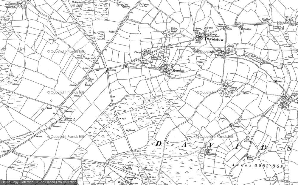 Old Map of Historic Map covering Tich Barrow in 1882