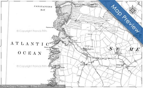 Map of Treyarnon Bay, 1880