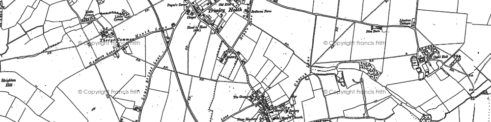Old map of Trimley Lower Street in 1881