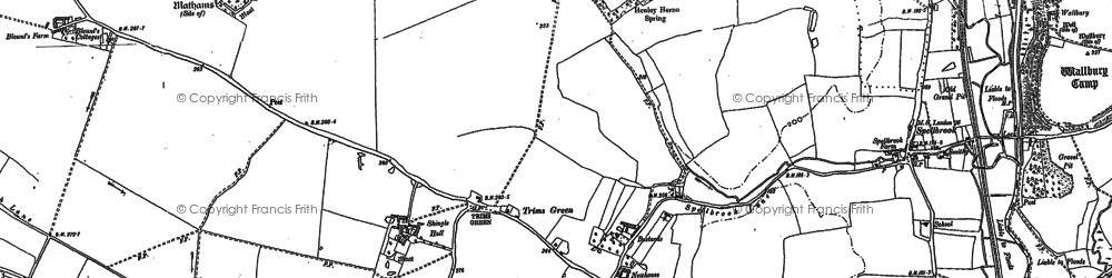 Old map of Trims Green in 1896