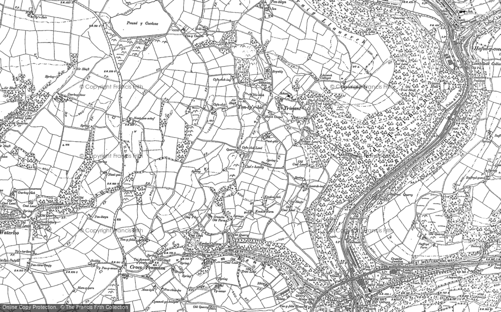 Old Map of Historic Map covering Ton-ty'r-bel in 1916