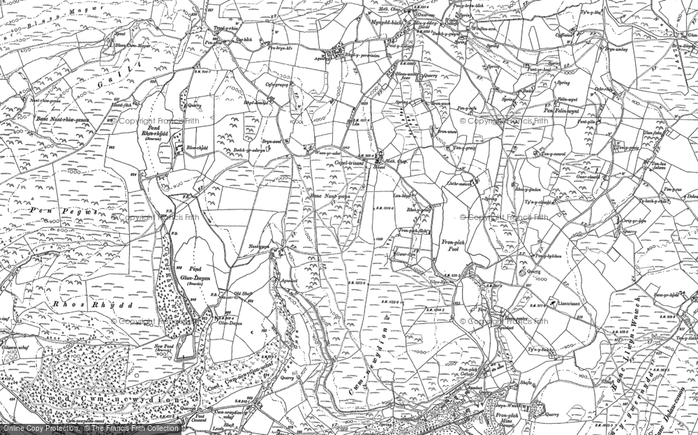 Old Map of Historic Map covering Banc Blaen Magwr in 1886