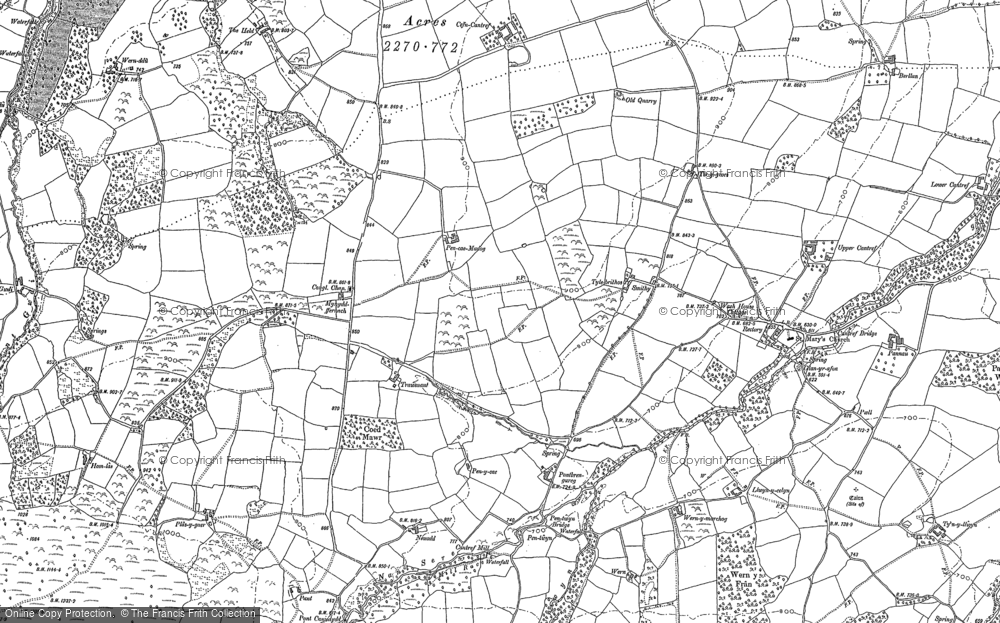 Old Map of Historic Map covering Allt Ddu in 1882