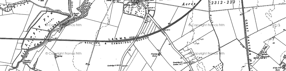 Old map of Addenbrooke's Hospl in 1885